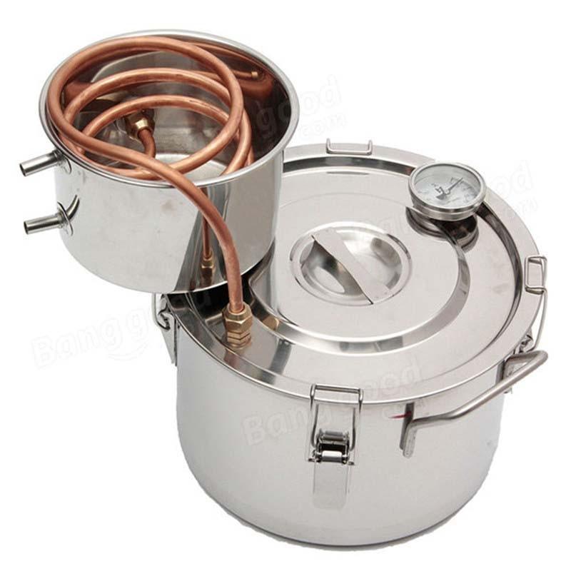 2GAL 8L Copper Ethanol Water Alcohol Distiller Moonshine Still Stainless Steel Distillation Boiler Bar Accessories
