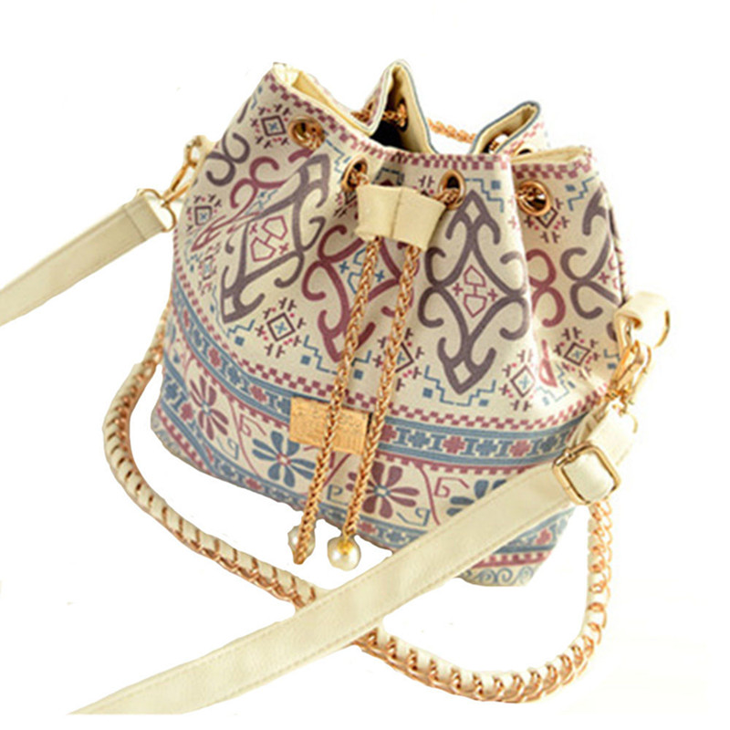 Canvas Bag Drawstring Bucket Bag Vintage Messenger Bags Chains Ladies Bucket Handbags Totes