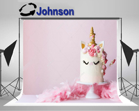birthday backgrounds Vinyl cloth High quality Computer print Unicorn Cake Pink Frosting photo backdrop
