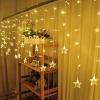 EU Plug 16PCS Star LED Curtain String Light 3 5M 96LEDs Icicle String Light New Year