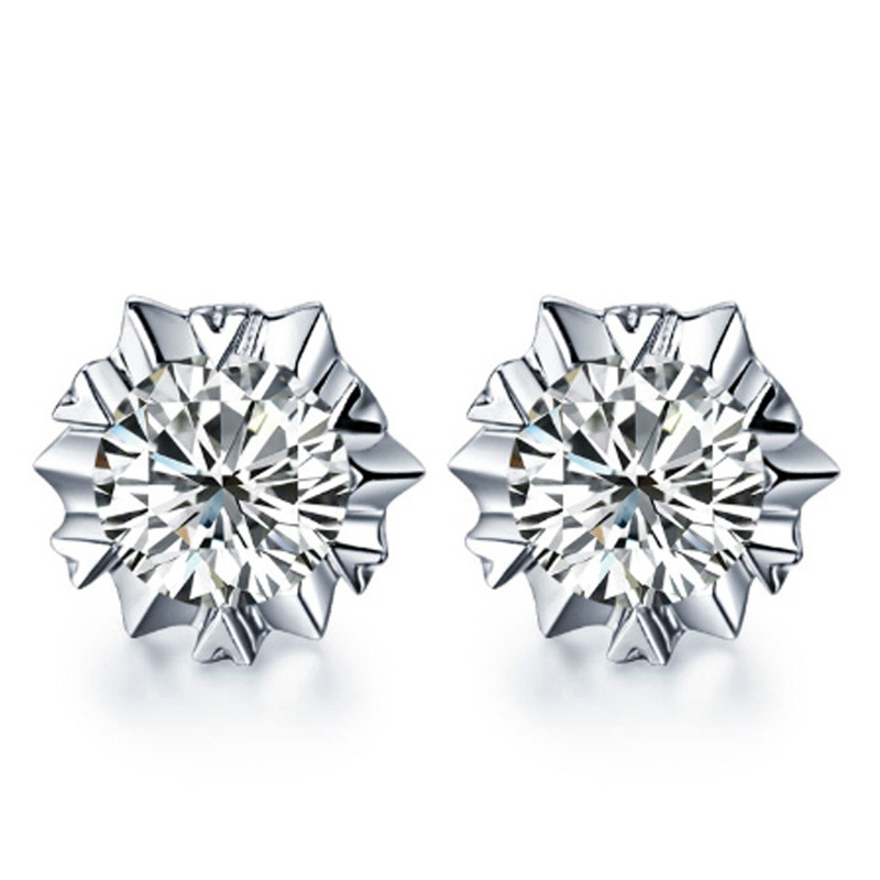 100 925 sterling silver fashion shiny cz zircon snowflake ladies stud earrings jewelry Anti allergy female birthday gift cheap in Stud Earrings from Jewelry Accessories