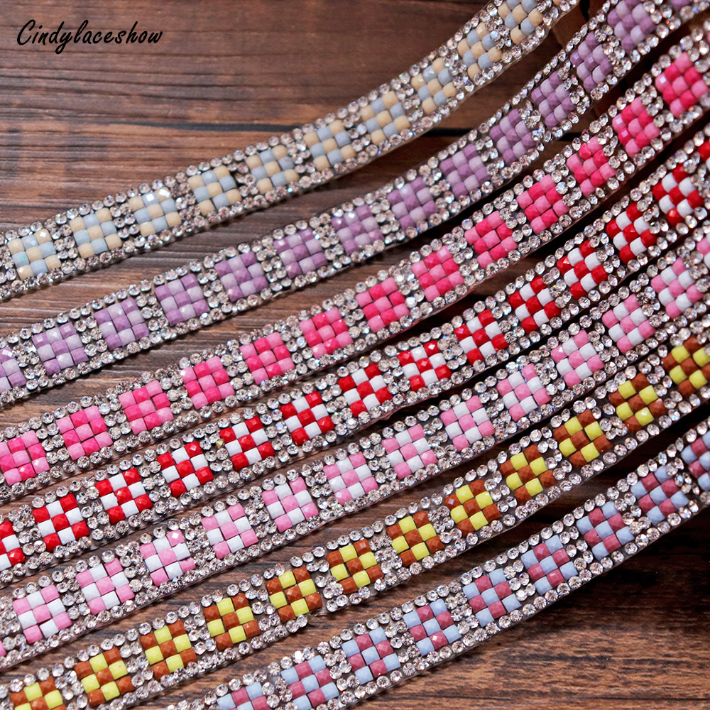 10mm Beaded Rhinestone Crystal Trim Iron On Diamond Ribbon Wrap Dress Trim Sewing Accessories DIY Wedding Party Cell Decoration in Lace from Home Garden