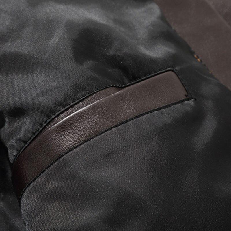 Aolamegs hommes veste en cuir de mode poches Biker vestes nouvelle haute qualité lettre broderie décontracté mâle PU cuir manteau Outwear - 5
