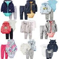 New style girls boys flower cartoon striped coat +bodysuits +pants 3pcs newborns homewear cute infant cotton soft clothes 17S907