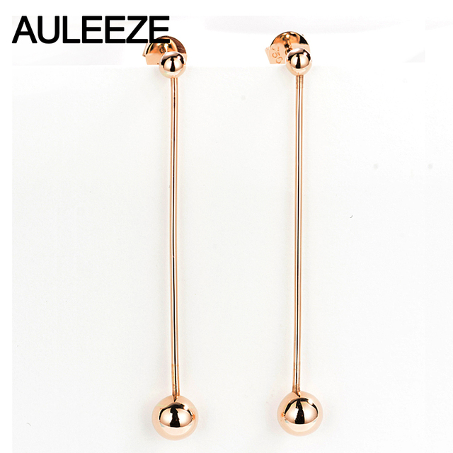AULEEZE Solid 18K 750 Rose Gold Earrings Classic Tassel Drop Earrings For Women Pure Gold Fine Jewelry Party Gift