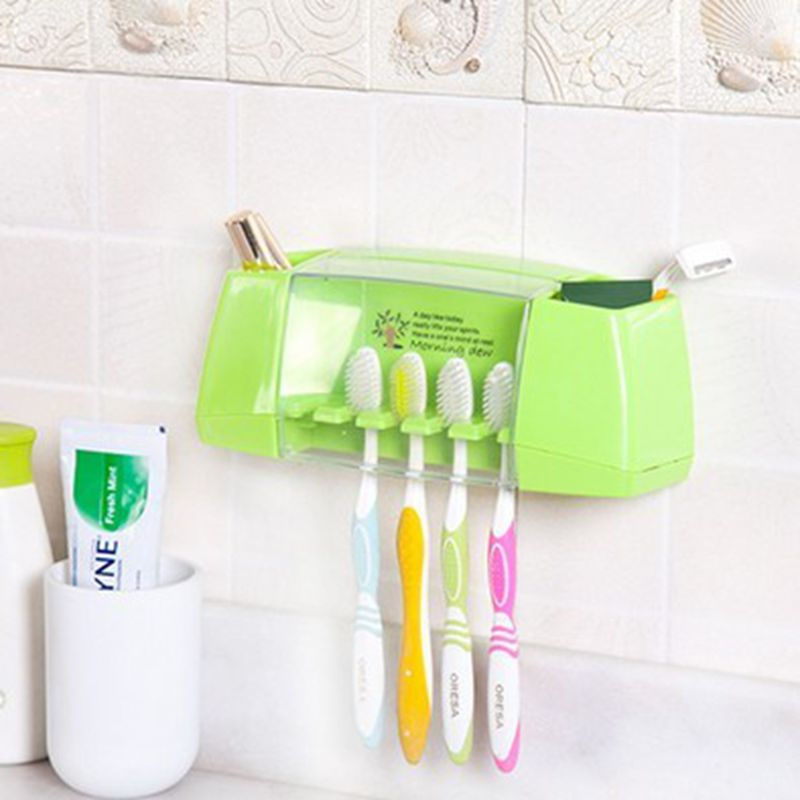 Multifunctional Combo Five Toothbrush Holder Suction Wall Shelving Bathroom Sets Hooks 5 Position Tooth Brush Holder