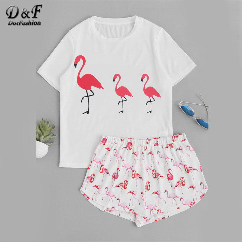 Dotfashion Allover Flamingo Print Top With Shorts Pajama Set 2017 Multicolor Round Neck Short Sleeve Pajama Set Women Pajama Set nautica new blue long sleeve v neck pajama top m $32 dbfl