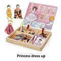 Multifunctional Educational Princess dress up Wooden Magnetic Puzzle Toys for Children Kids Jigsaw Baby's Drawing Easel Board