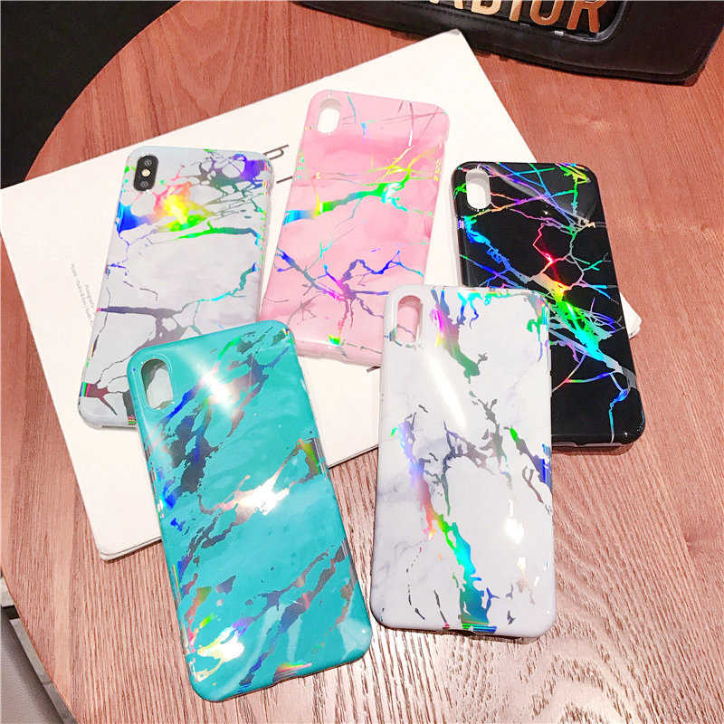 Phone Case For iphone XS XR XS MAX 8 7 6 6s plus Luxury Laser Marble High Quality Smooth TPU Soft Shell Back Case