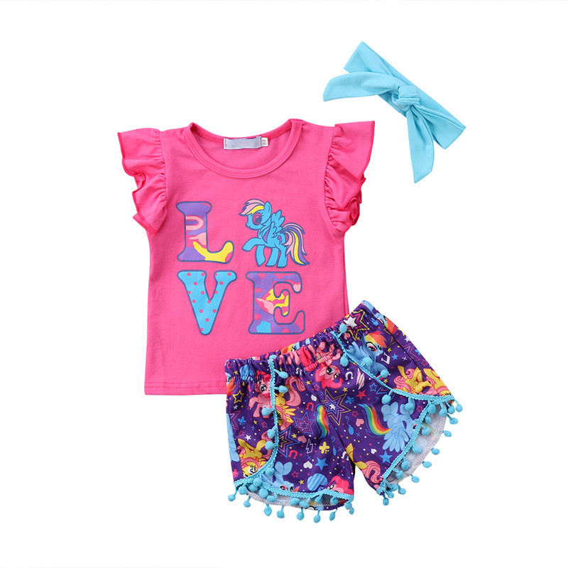 3PCS Set Baby Girl Clothes Ruffle Sleeve Love Print Unicorn T-shirt Tops+Cartoon Tassel Shorts Headband Summer Children Clothing family fashion summer tops 2015 clothers short sleeve t shirt stripe navy style shirt clothes for mother dad and children
