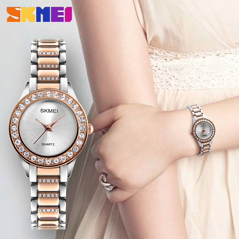 SKMEI 1262 Casual Quartz Watches Women Luxury Brand Lady Watch for Woman Rose Gold Waterproof Relogio Feminino Montre Femme 2018 fashion top luxury brand watch women lovers quartz watch lady dress rose gold casual business montre femme relogio feminino