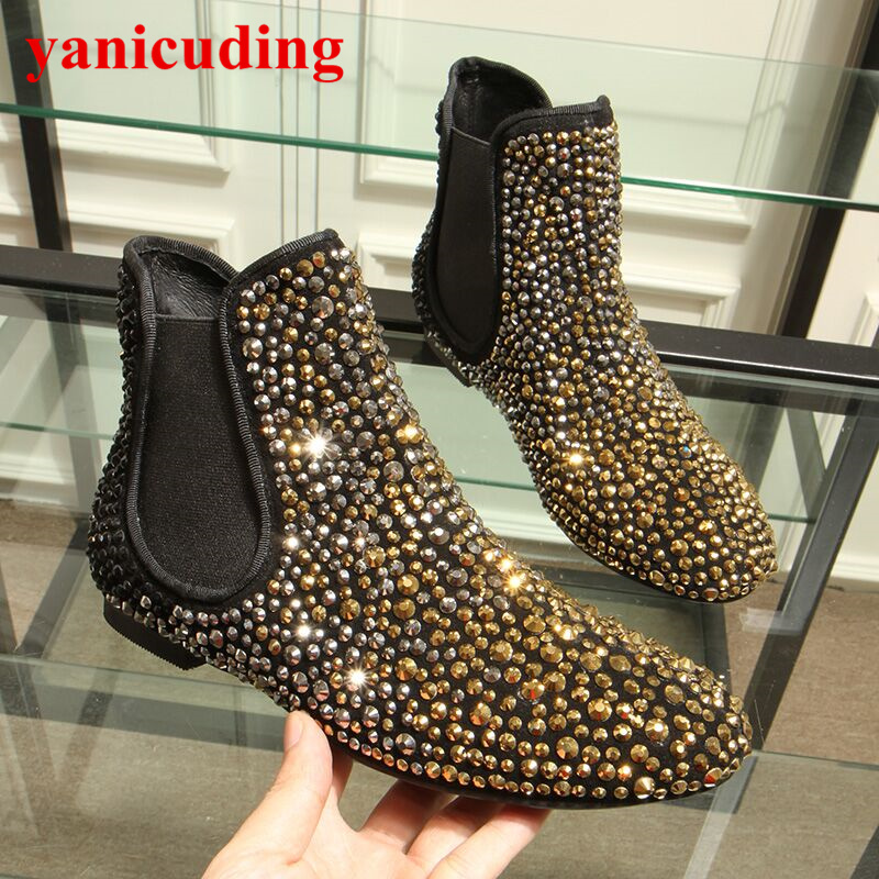 Gold Crystal Embellished Women Ankle Boots Round Toe Slip On Short Booties Spring Autumn Brand Shoes Flats Chaussures Femmes snow fur slip on fashion round toe winter boots women ankle flat shoes celebrity gray bow booties chinese female short new