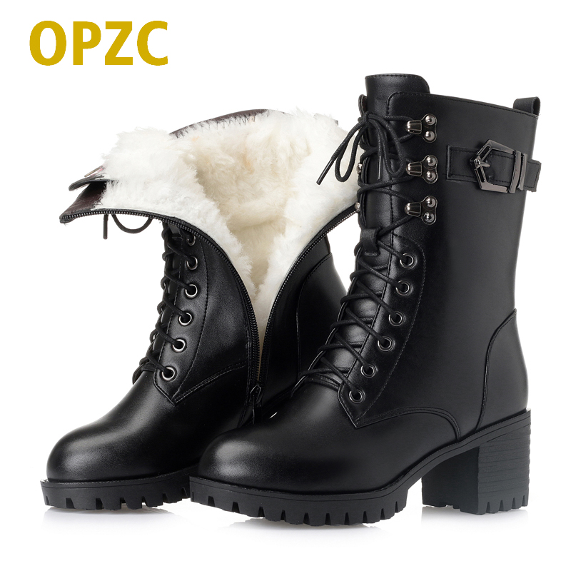 OPZC 2018 new genuine leather women military boots,size 41 42 43 lace fashion women Martin boots, high-heeled thick wool boots 2017 new women s genuine leather boots motorcycle boots rough with in tube high heeled boots thick wool really pima ding