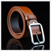 Fashion Men Pin Buckle Belt Leather Pin Up Cowhide Leisure Square Pin Buckle Leather Belts Blue