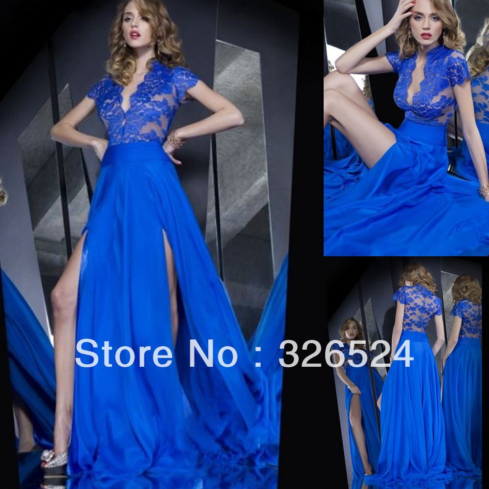 New arrivals prom dresses 2014 royal blue v neck cut out see through ...