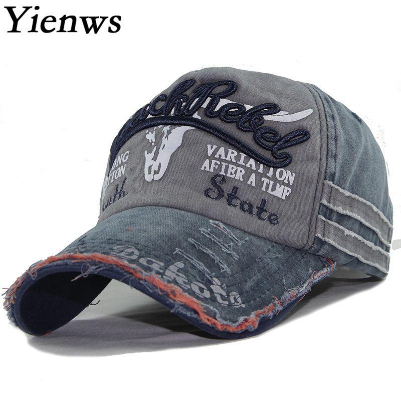Yienws Bones Hats for Men Wash Old Worn Vintage Male   Baseball     Caps   Bone Five Panel Chapeau Casquette Homme Navy Gorras YIC617
