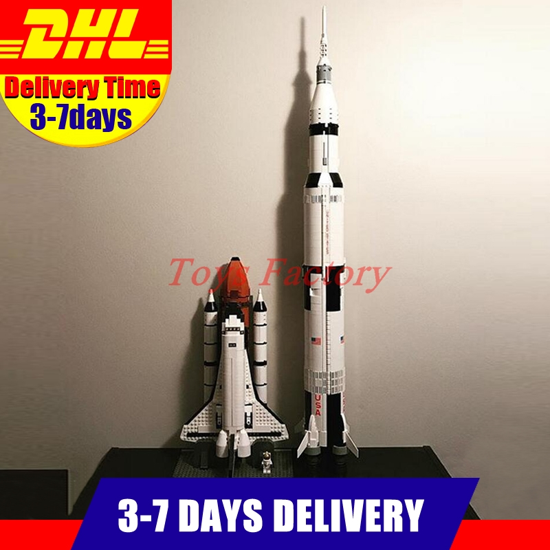 LEPIN 37003 The Apollo Saturn V Launch Vehicle Set+16014 1230Pcs Space Shuttle Expedition Model Building Kits Set Clone 21309