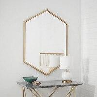 Nordic Hexagon mirror bathroom mirror makeup mirror wrought iron vanity mirror decorative mirror wall mounted LO681624