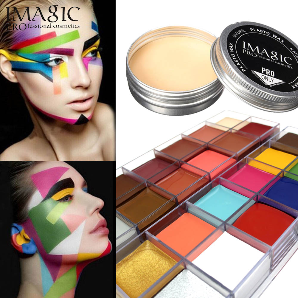 Imagic Halloween Combination Set Special Effects Stage Makeup Fake Wound Scars Wax + Oil Painting(flash color) + Spatula Tool imagic cosmetics body painting flash tattoo palette halloween painting skin wax professional makeup remover painting tools