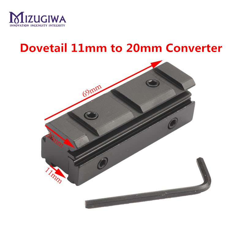 Tactical 11mm Dovetail 20mm Weaver Scope Rail Converter Adapter Mount With Allen Key Airgun Rifle Pistol Sight Hunting Caze