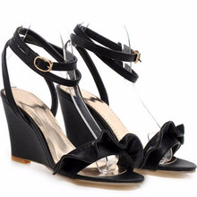 Lady's Big sizes (4-12) Sweet  Pleated wedges Open toe Thick heels sandals fashion Ankle-Wrap thin shoes summer Patry Wedding
