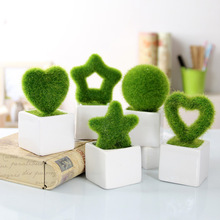 Zakka home Decorations Supplies simulation of small green plants potted bonsai Artificial flocking wedding decor