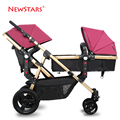 Baby Stroller for 2 Babies, Twins Stroller, 2 Seats Pushchair, Children Carriage Can Sit & Lie Down, Highview, Folding