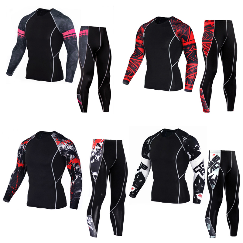 Rash Guard Long Sleeve Thermal Knitwear Sleeve Crossfit T Shirt Fitness Set Tights Men's Compression T-Shirt  MMA Men's Clothing