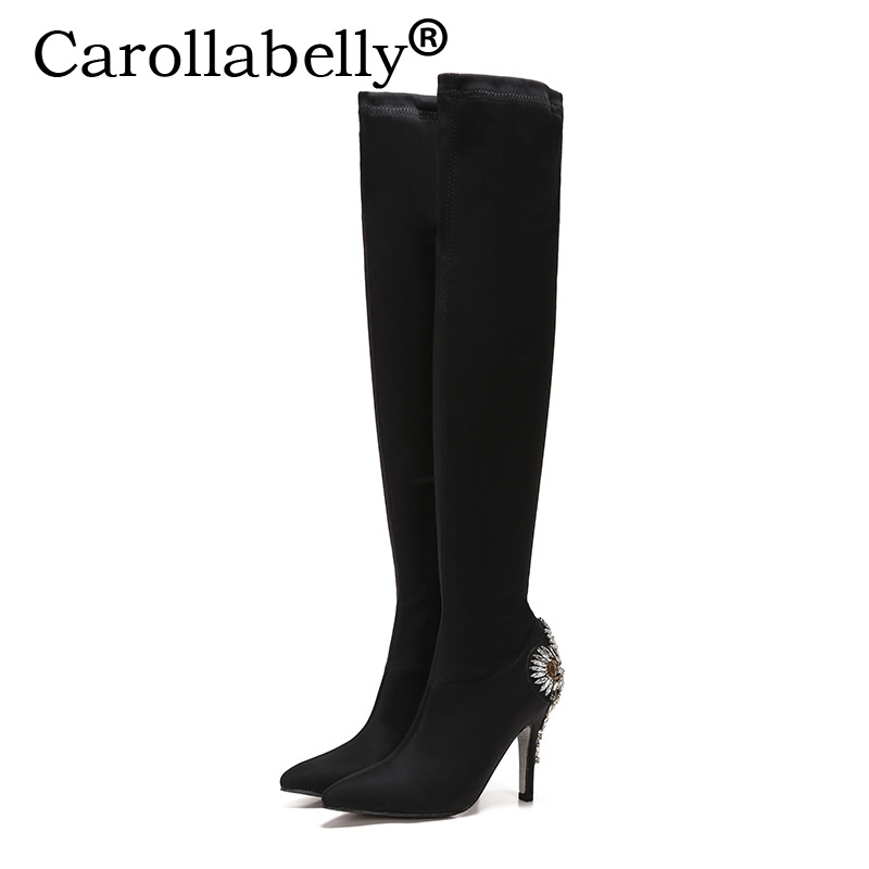 Carollabelly High Heel Women Rhinestone Heel Boots Autumn Winter Over the Knee Black Boots For Women Flock Party shoes