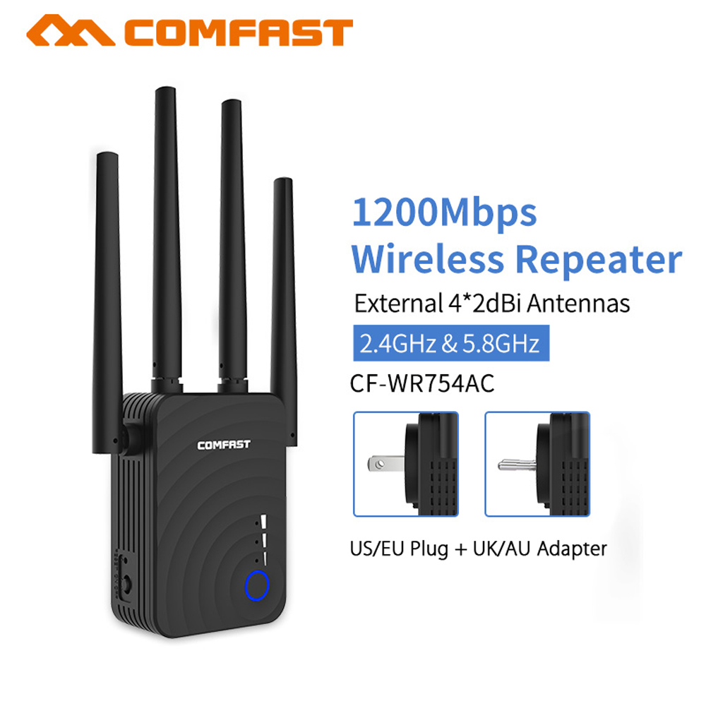 COMFAST 1200Mbps Wifi Extender Router Wireless Repeater 5Ghz Long Wifi Range Extender Booster 4*2dbi Antenna CF WR754AC