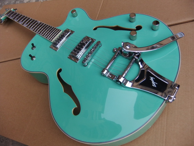Wholesale Cnbald Gre tsch 6120 Brian Setzer Semi Hollow Body Jazz Electric Guitar With Bigsby In Blue/Green