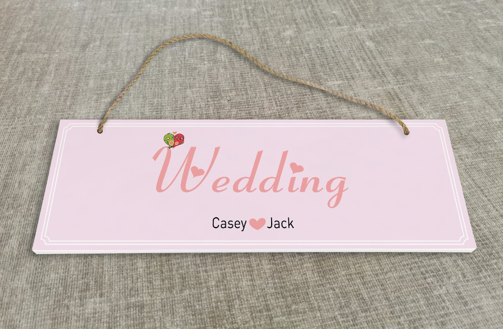 Personalized Outdoor Wedding Reception & Ceremony Decoration Directional Signs wedding sign board Pink kissing bird SB006H ...