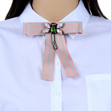 ZHINI Wanita Mode Handmade Satin Ribbon Bow Tie Dasi bow-simpul Kemeja Dasi Klip Bros Pins Shirts Collar Dragonfly perhiasan(China)