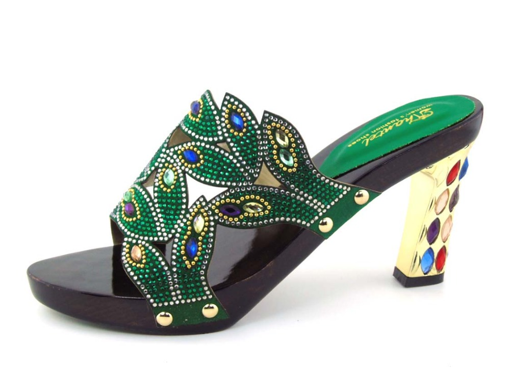 ФОТО green Special Design African Slippers Shoes Womens Luxury Diamond Rhinestones African Sandals Womens Heels For Party !!HOH1-27