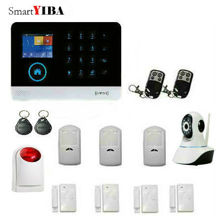 SmartYIBA Android IOS APP Control 2.4G Smart Home Security WIFI GSM Alarm System Network Camera Strobe&Flash Siren Alarm Kits support smart ios android apps home security gsm alarm system remote control by sms auto calling multi language alarm system