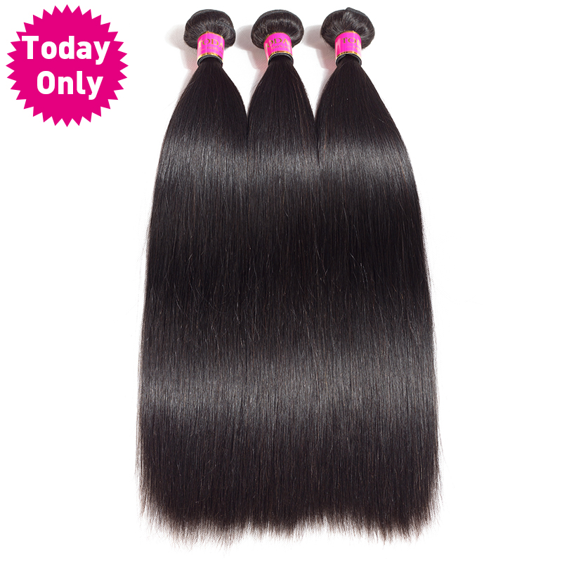 [TODAY ONLY] 3 Bundles Peruvian Straight Hair Bundles Remy Hair Extensions Peruvian Human Hair Bundles Natural Human Hair Weave