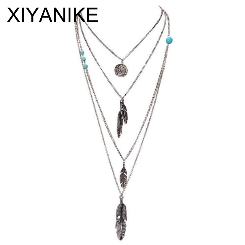 New Brand Fashion Boho Antique Silver Multilayer Feathers Bis