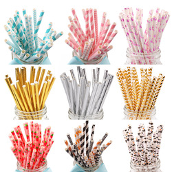 FENGRISE 25pcs Drinking Paper Straws Gold Silver Straw Its A Boy Girl Pink Blue Baby Shower Decoration Gift Party Event Supplies