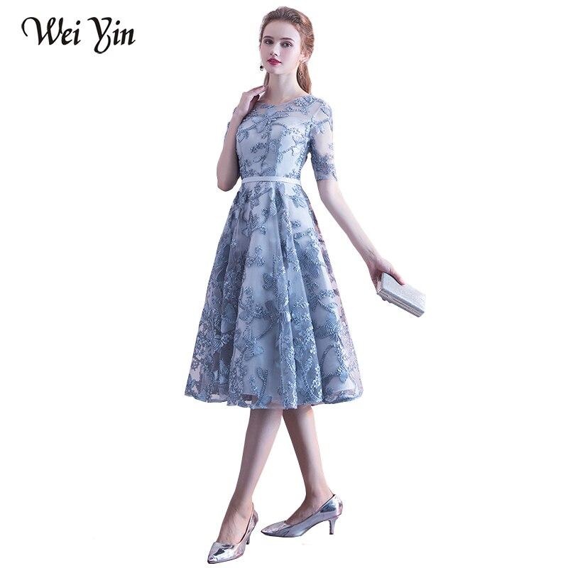 WeiYin 2019 nouvelle Robe De soirée robes De mariée manches courtes dentelle fleur courte élégante fête robes formelles dentelle pour les femmes