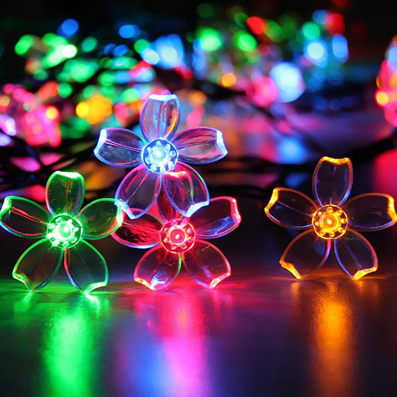 10M Peach Flower Garland Room Party Decorate String Lights LED Festoon 7 Different Light Colors & 8 Play Modes EU US Plug In