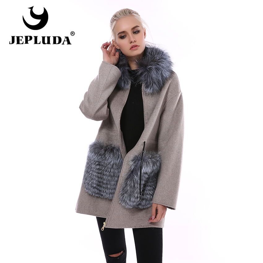 JEPLUDA Cashmere Coat Women's 100% Natural Wool With Fox Fur Collar Real Fur Coat Women Autumn Real Fur Jacket Real Wool Coat