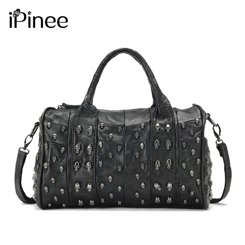 iPinee Top Fashion Genuine Leather Handbag Women Messenger Bags Famous Brand Patchwork Luxury Skull Bag luxury embroidery patent leather women messenger bags famous brand fashion female wedding party women s genuine leather bag