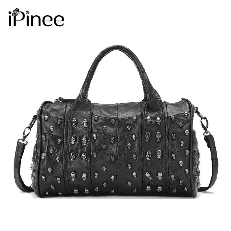 iPinee Top Fashion Genuine Leather Handbag Women Messenger Bags Famous Brand Patchwork Luxury Skull Bag skull cat print crescent hem top