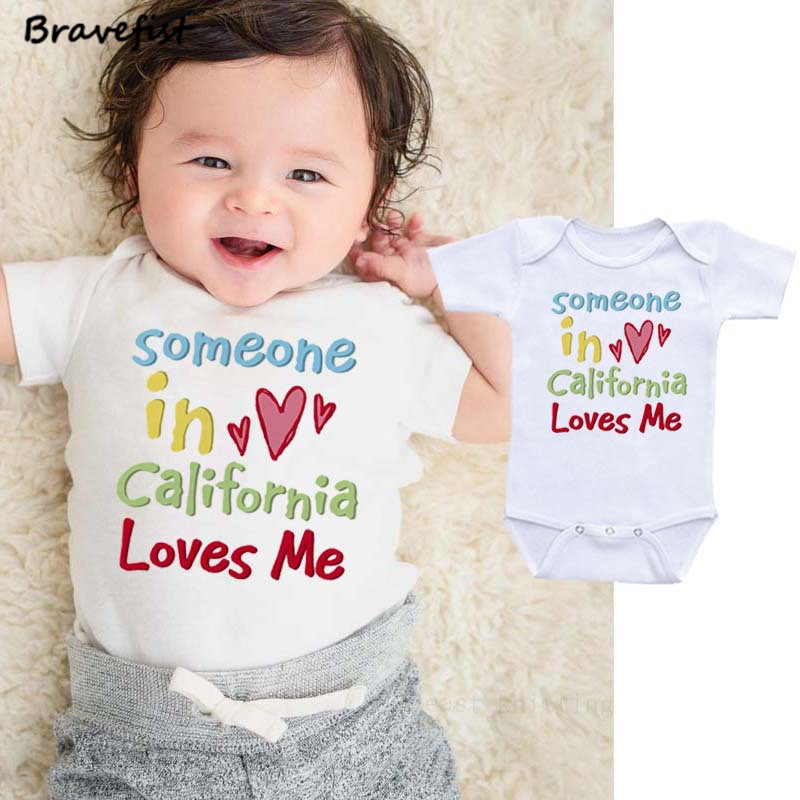 9e52f3803 0 2Y Summer Newborn Bodysuits Cotton Sunsuits Someone In California Loves  Me Letters Print Infant Clothes Boys Girls Jumpsuits-in Bodysuits from  Mother ...