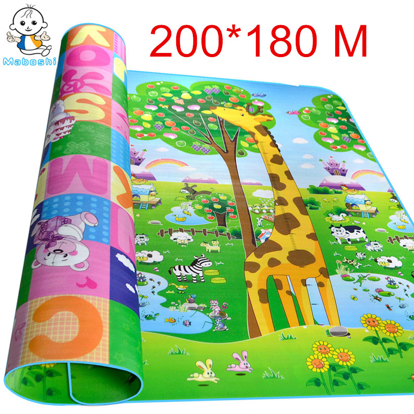 Maboshi Waterproof Double Sides 2*1.8 M Children Play Mat Giraffe And Bear Baby Crawling Mat Soft Kids Picnic Carpet Rug CJL0012