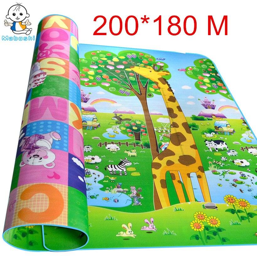 цена на Maboshi Waterproof Double Sides 2*1.8 M Children Play Mat Giraffe And Bear Baby Crawling Mat Soft Kids Picnic Carpet Rug CJL0012