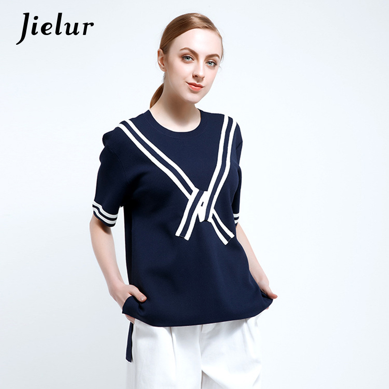 Spring Summer New Europe Street Fashion T-shirts for Women Striped O-neck Simple Knitted T shirt Loose Half Sleeve Pullover Top