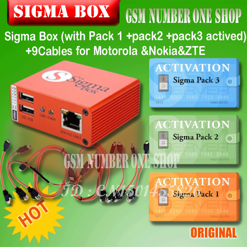 2019 original Newest Sigma Box with Cable Set + Sigma Pack 1, 2, 3 Activations  for MTK based Motorola Alcatel Huawei ZTE Lenovo-in Phone Adapters & Converters from Cellphones & Telecommunications