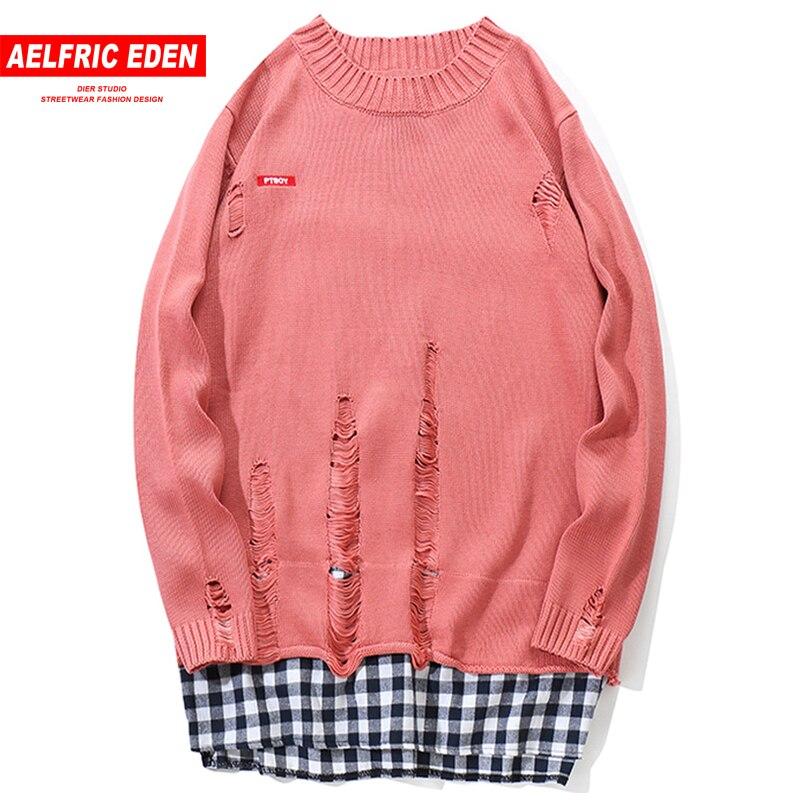 Aelfric Eden Plaid Patchwork Loch Distressed Pullover Männer Gestrickte Pullover Pullover Männlichen Hip Hop Casual Strickwaren Streetwear Kj102 Neueste Technik