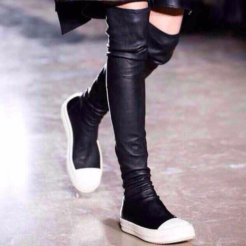 Popular Flat Black Thigh High Boots-Buy Cheap Flat Black Thigh ...